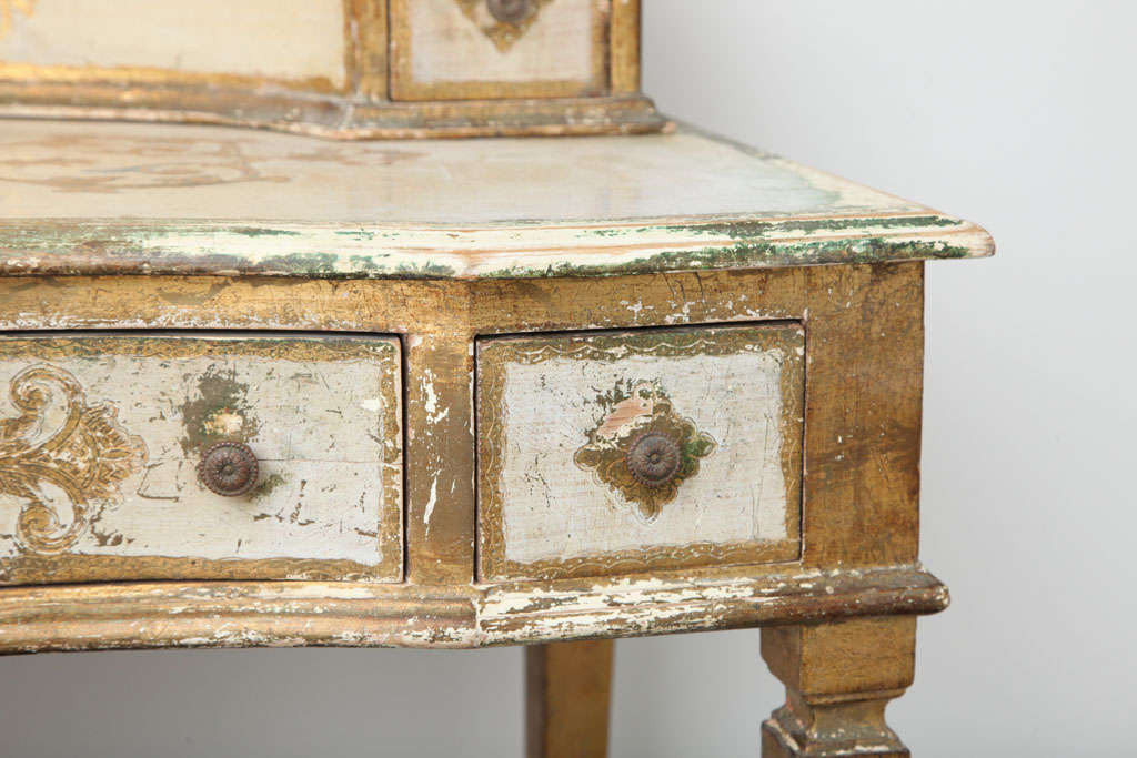 Paint Gilded Florentine Writing Table/Vanity For Sale