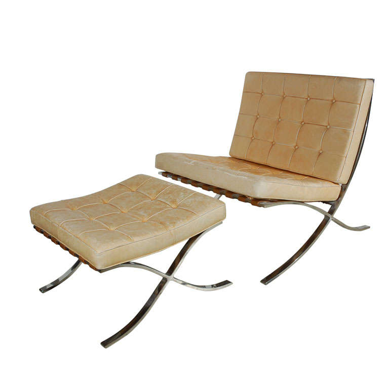 mies van der rohe for knoll barcelona chair and ottoman at 1stdibs