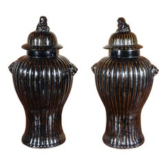 Pair of Chinese, Ribbed Vases
