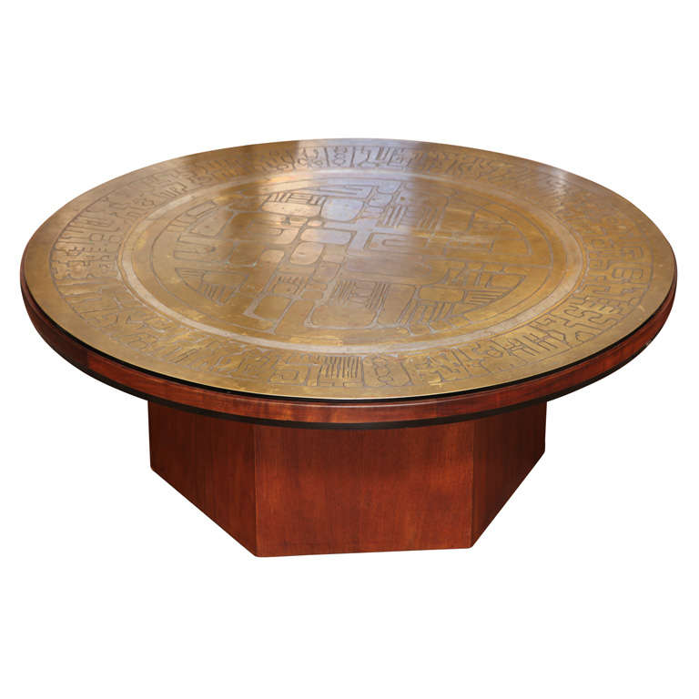 Brass And Mahogany Coffee Table By The John Stewart