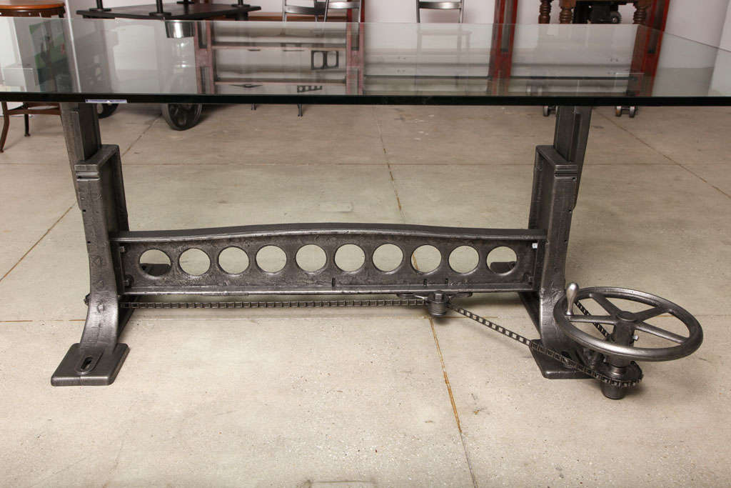 This vintage industrial original adjustable dining table desk base is