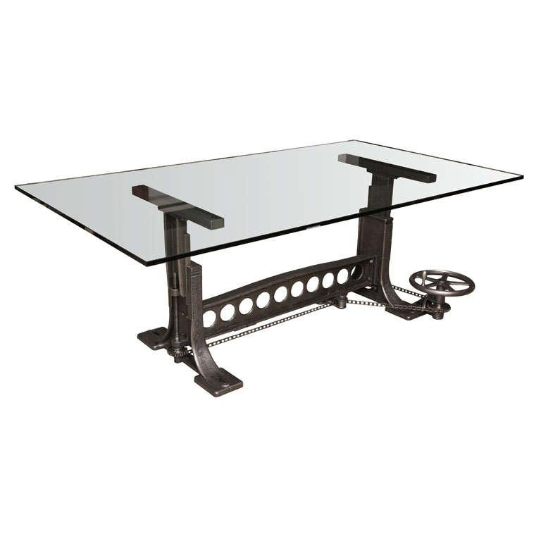 Vintage Industrial Original Adjustable Dining Table Desk