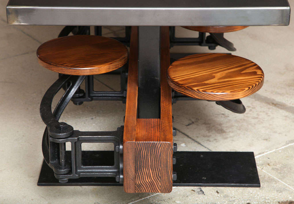 Dining Table Set - Vintage Industrial Cast Iron, Wood, Steel Swing Out Seat  5