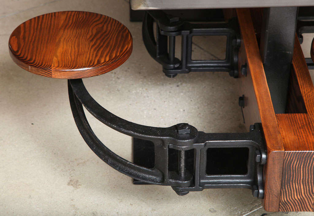 Dining Table Set - Vintage Industrial Cast Iron, Wood, Steel Swing Out Seat  6