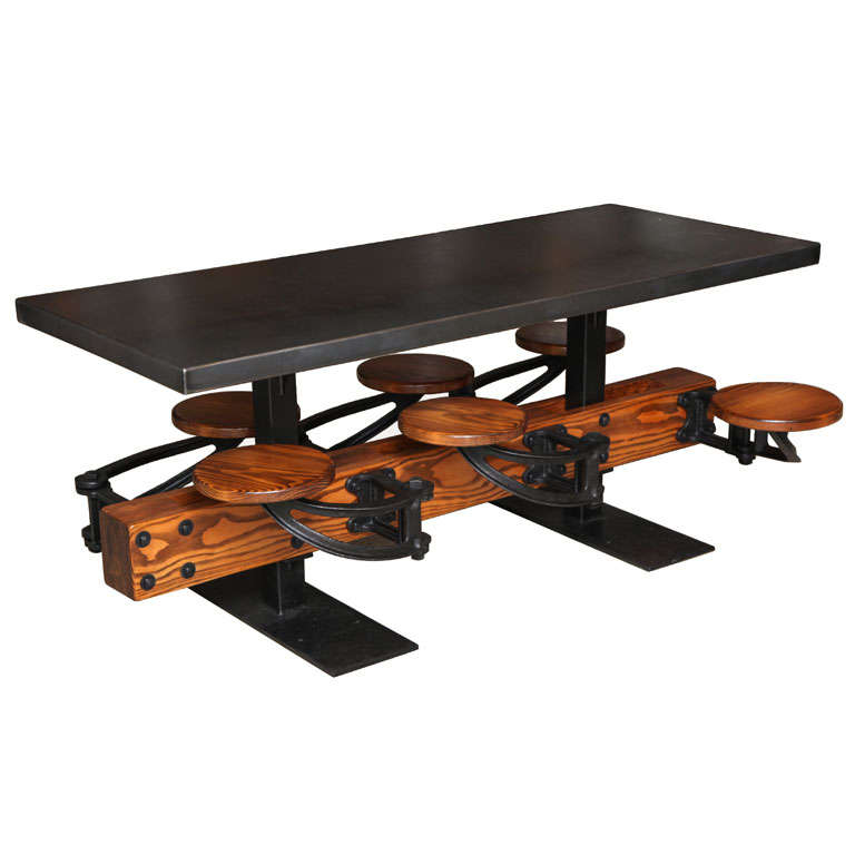 Dining Table Set - Vintage Industrial Cast Iron, Wood, Steel Swing Out Seat  For Sale