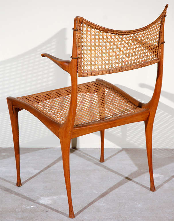 American Gazelle Wood and Cane Arm Chair by Dan Johnson For Sale
