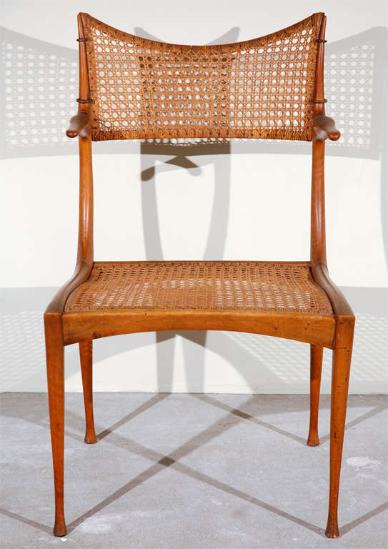 Mid-20th Century Gazelle Wood and Cane Arm Chair by Dan Johnson For Sale