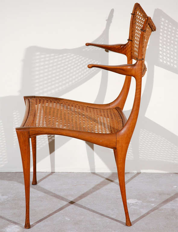 Gazelle Wood and Cane Arm Chair by Dan Johnson For Sale 4