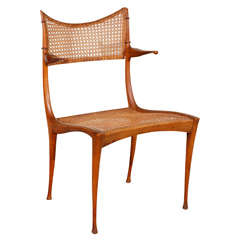 Gazelle Wood and Cane Arm Chair by Dan Johnson