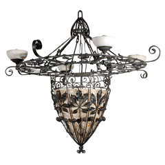 French Iron and Alabaster Fixture