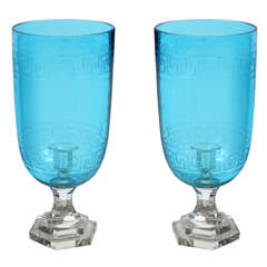 Pair Of Acqua Blue Glass Candlesticks With Double Etchings