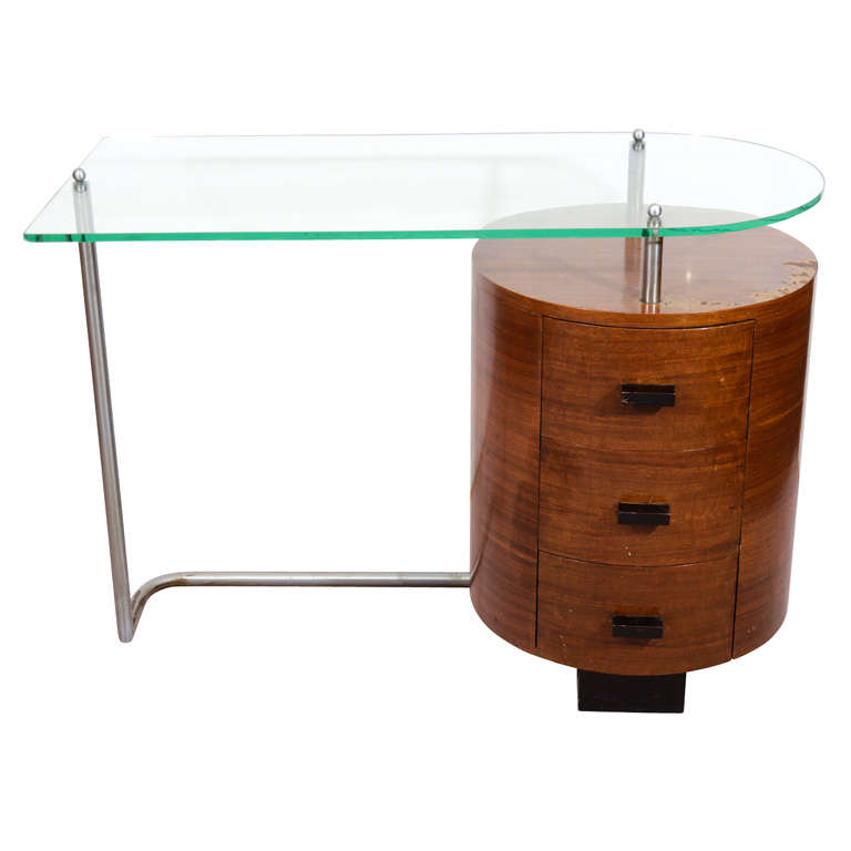 Modernist Art Deco Wood And Glass Desk By Gilbert Rohde At