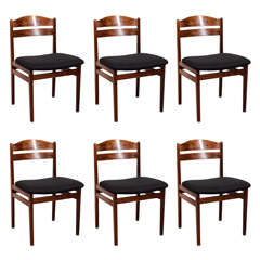 Set of Six Mid Century Rosewood Dining Chairs