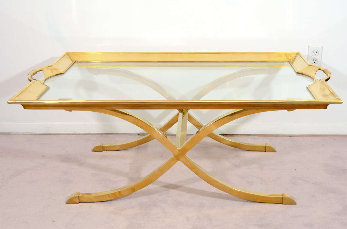 Mid Century Brass And Glass Coffee Table By La Barge At 1stdibs