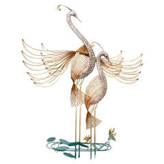 Vintage Curtis Jere Wall Sculpture Depicting a Pair of Cranes