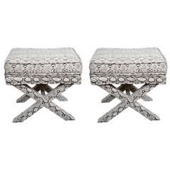 Pair of Mid Century Faux Python X-Base Stools