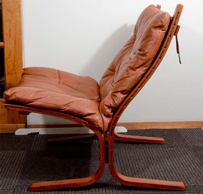 Pair of Mid Century Danish Modern Leather Sling Chairs at 1stdibs