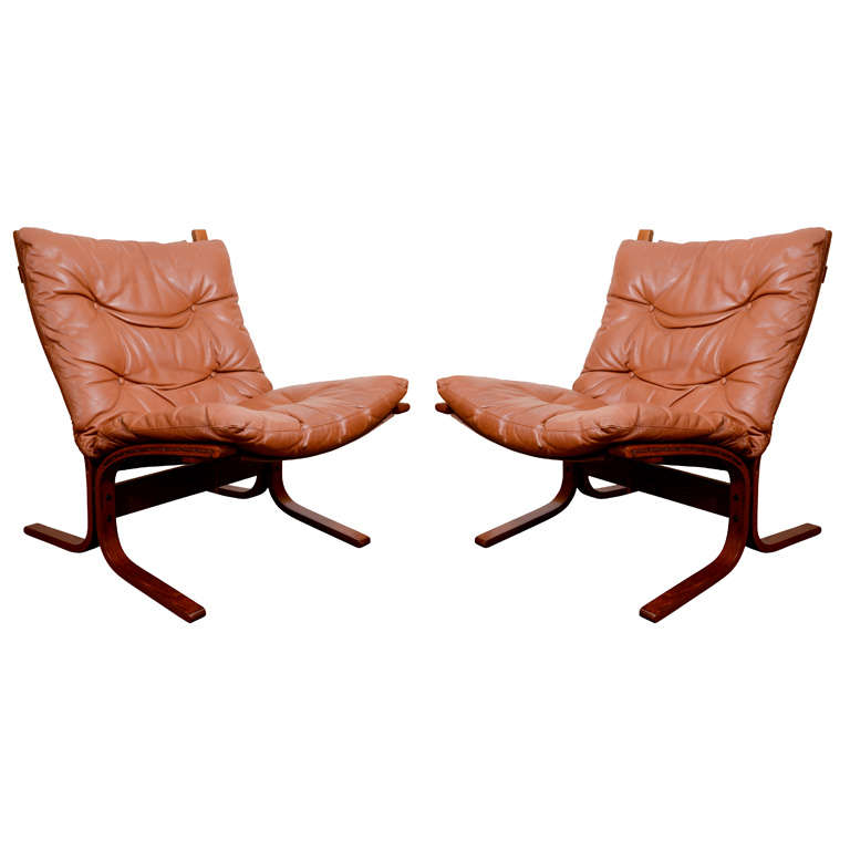 """Pair of Mid Century Danish Modern Leather """"Sling"""" Chairs"""
