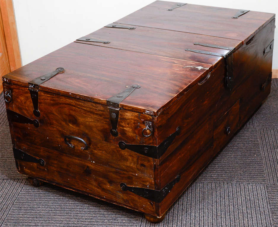 Vintage reclaimed wood chest or trunk with metal hardware