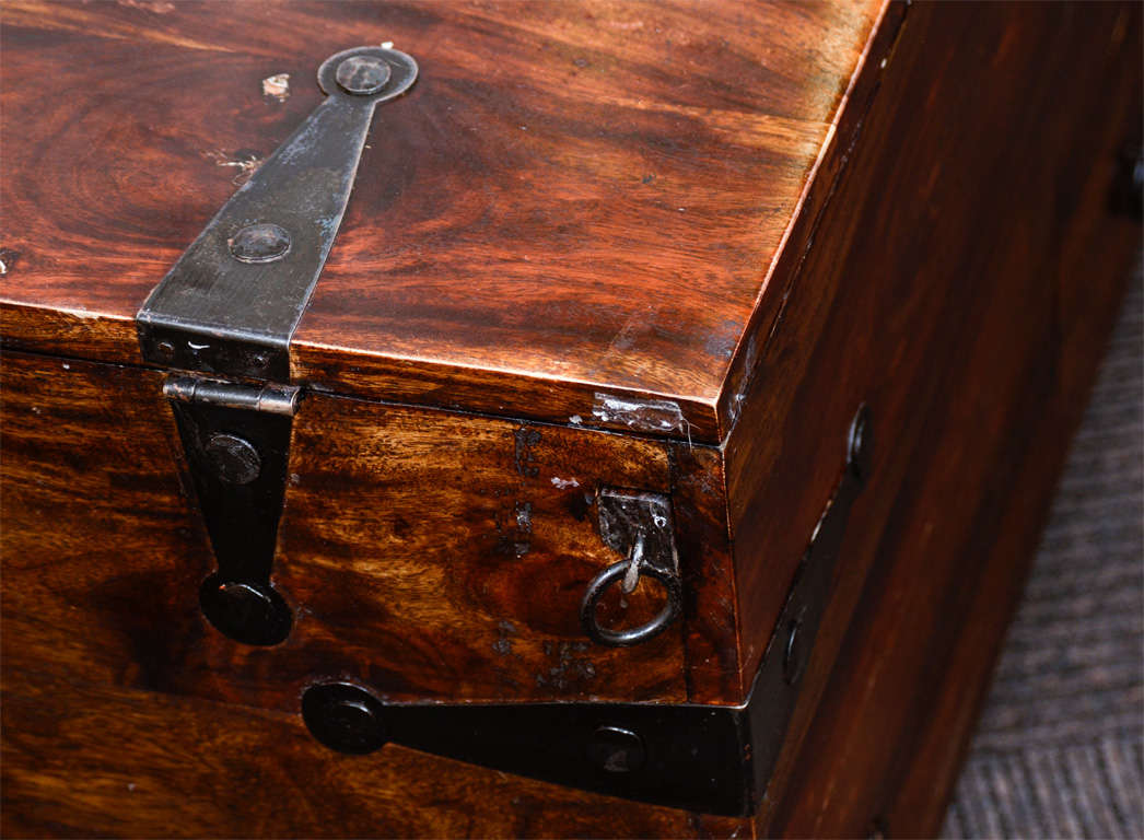 Vintage Reclaimed Wood Chest or Trunk with Metal Hardware image 8