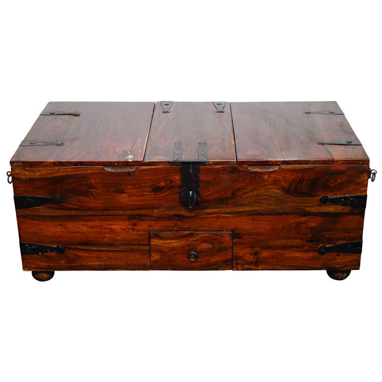 Wooden Chest Hardware ~ Vintage reclaimed wood chest or trunk with metal hardware