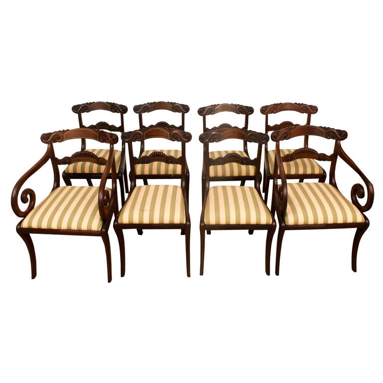 Set Of 8 William Iv Dining Chairs