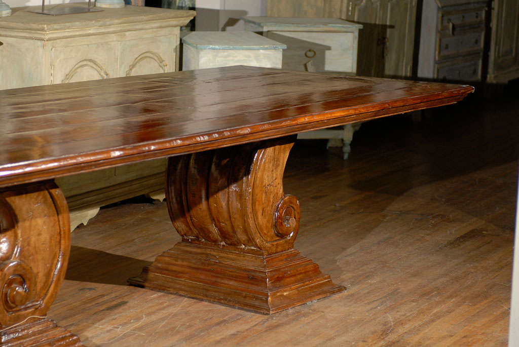 hand carved scroll leg base dining or conference table made of peroba