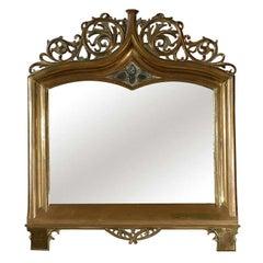 Art Nouveau Brass Vanity Mirror, circa 1900
