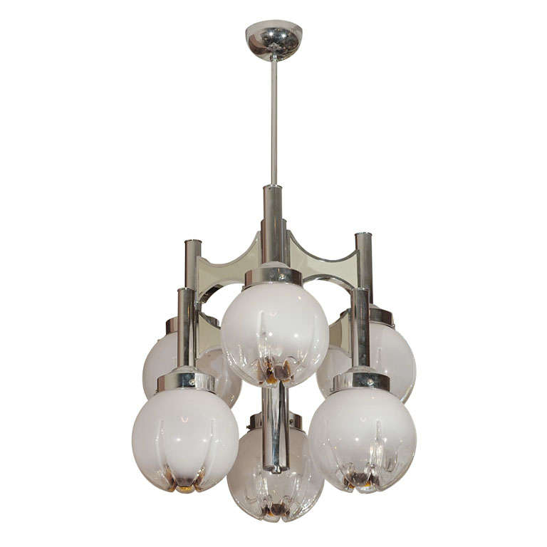 C. 1950 French Chrome Chandelier