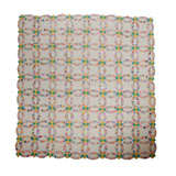 1935 Double Wedding Ring Quilt W/ White Ground And Scalloped Bor