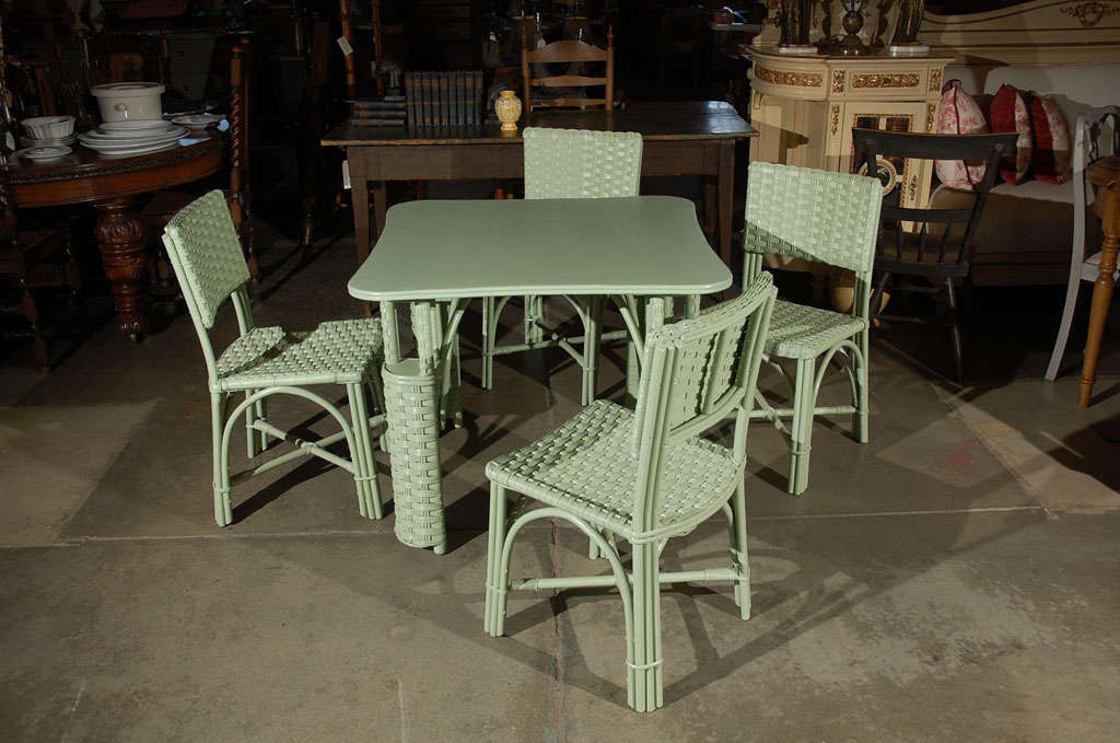 Wicker Table and Four Chairs 2