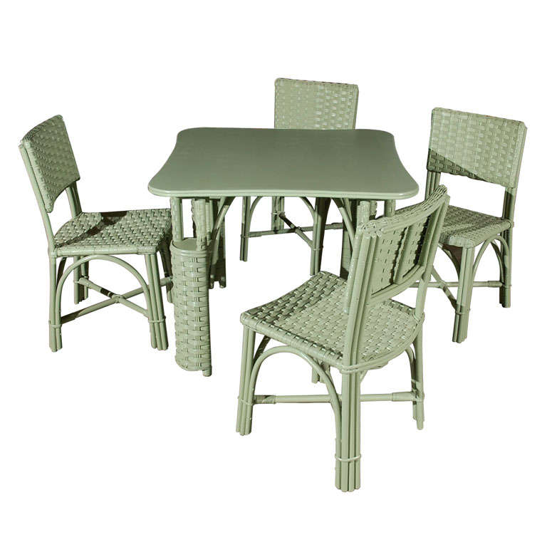 Wicker Table and Four Chairs 1