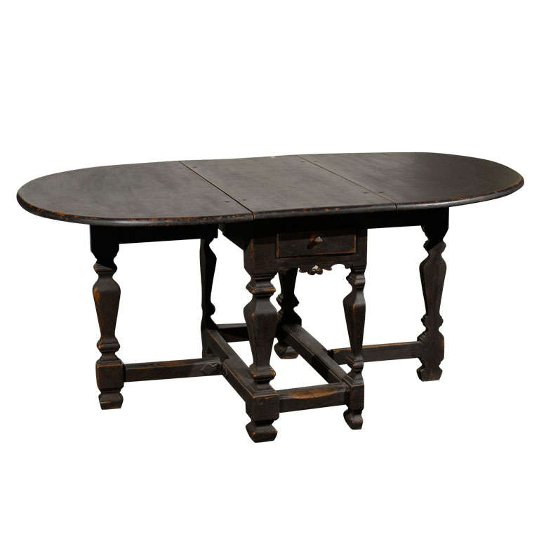 18th Century Swedish Period Baroque Gateleg Table 1