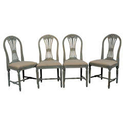 Set of Four Swedish Gustavian Style Side Chairs