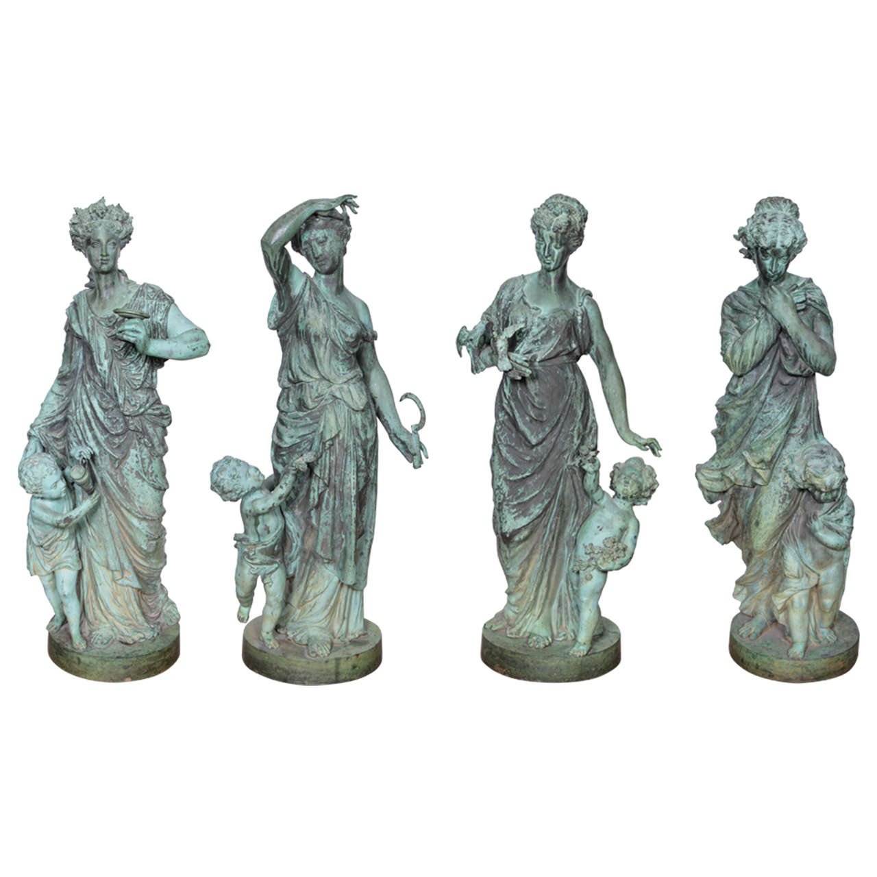 Four Bronze Figures Representing the Seasons For Sale