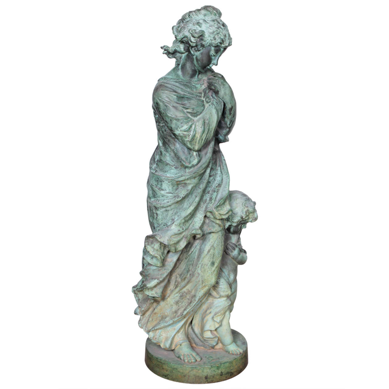 Bronze Figure of a Woman and Child Representing Winter