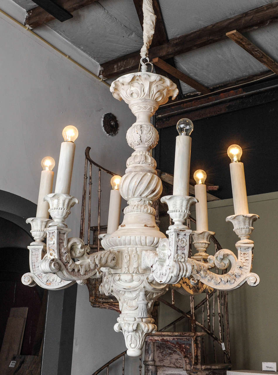 Large French Baroque Carved and Off-White Painted Wooden ...:Large French Baroque Carved and Off-White Painted Wooden Chandelier 2,Lighting