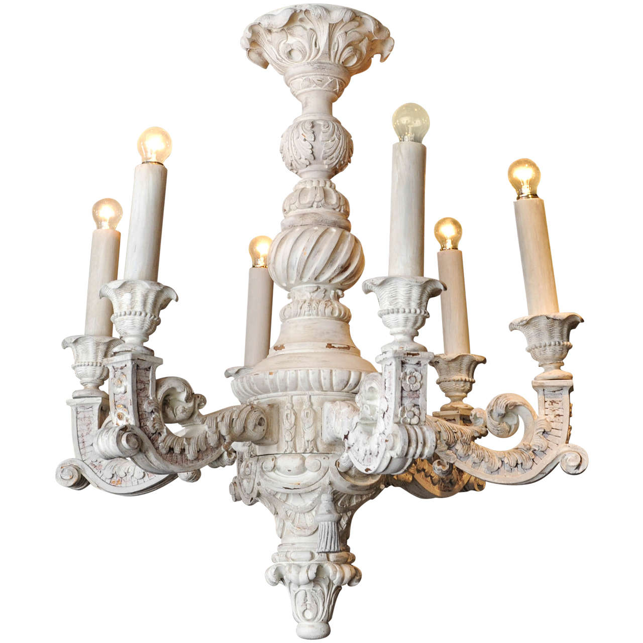 Large French Baroque Carved and Off-White Painted Wooden ...:Large French Baroque Carved and Off-White Painted Wooden Chandelier 1,Lighting