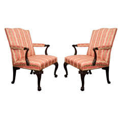 An Assembled Pair Of George III Mahogany Library Armchairs