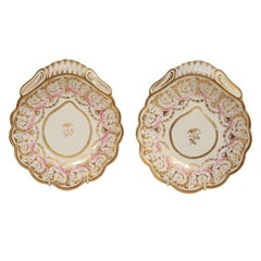 A Pair of Spode Pink and Gold Shell Shaped Dishes