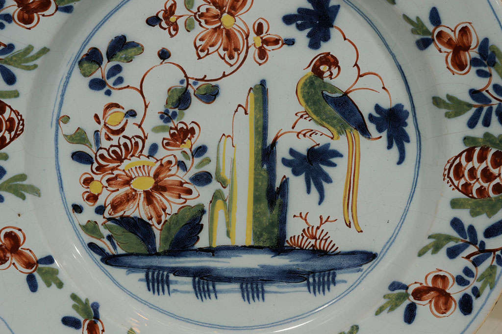 Chinoiserie  Delft Charger with Parrot Made Lambeth England circa 1765 For Sale