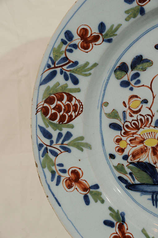 English  Delft Charger with Parrot Made Lambeth England circa 1765 For Sale