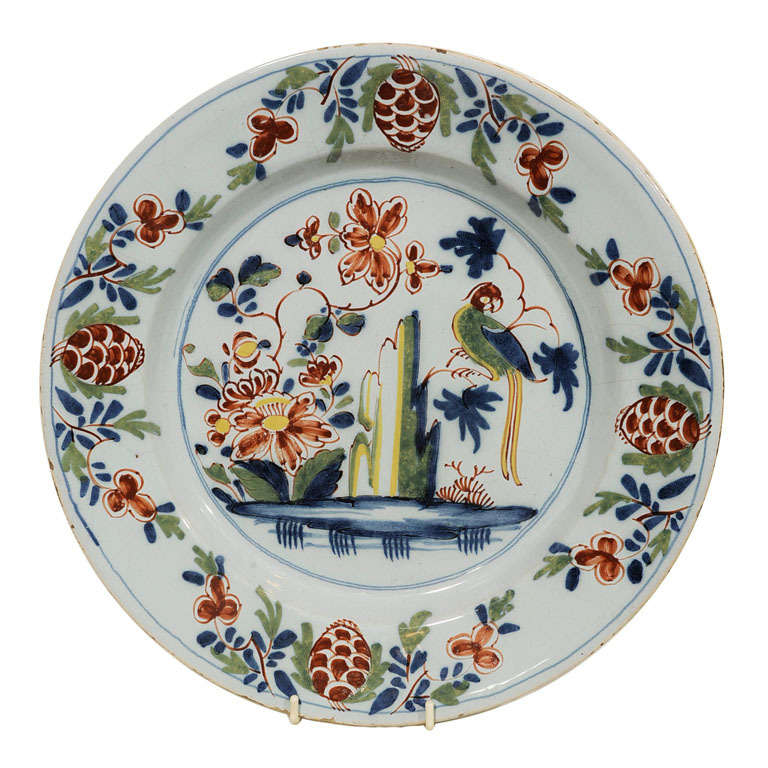 Delft Charger with Parrot Made Lambeth England circa 1765 For Sale