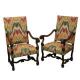 Pair of Walnut Throne Chairs