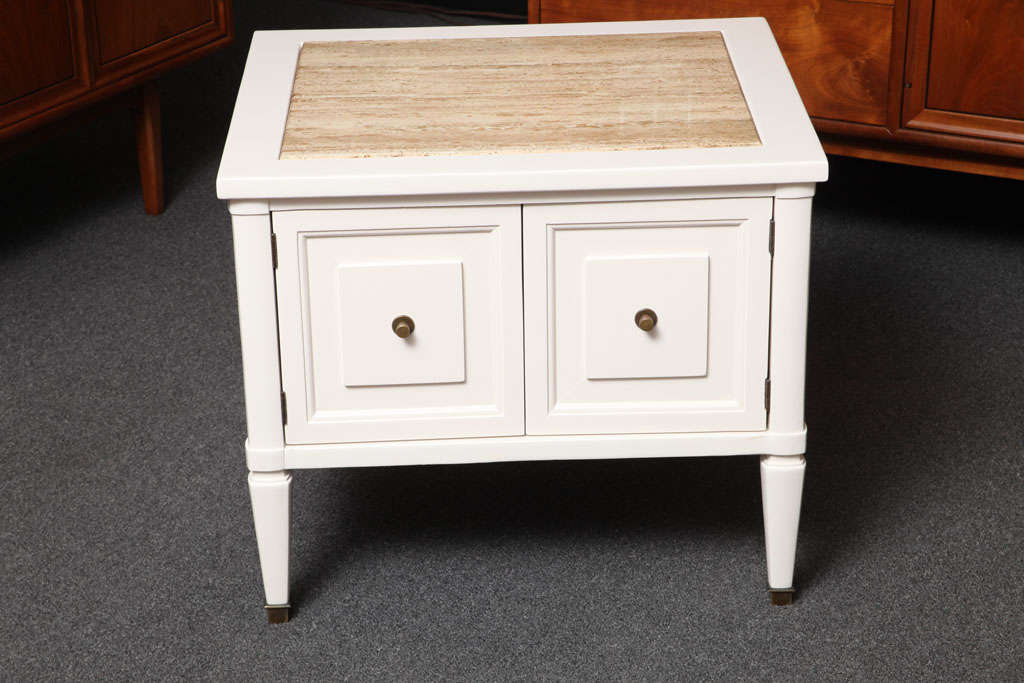 Mid-Century Modern Chic Modern Neoclassical Nightstands with Travertine Tops For Sale
