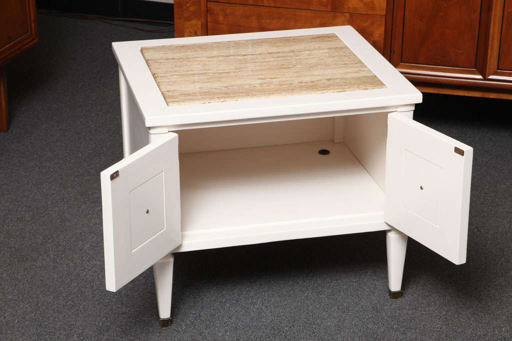 Chic Modern Neoclassical Nightstands with Travertine Tops In Excellent Condition For Sale In Miami, FL
