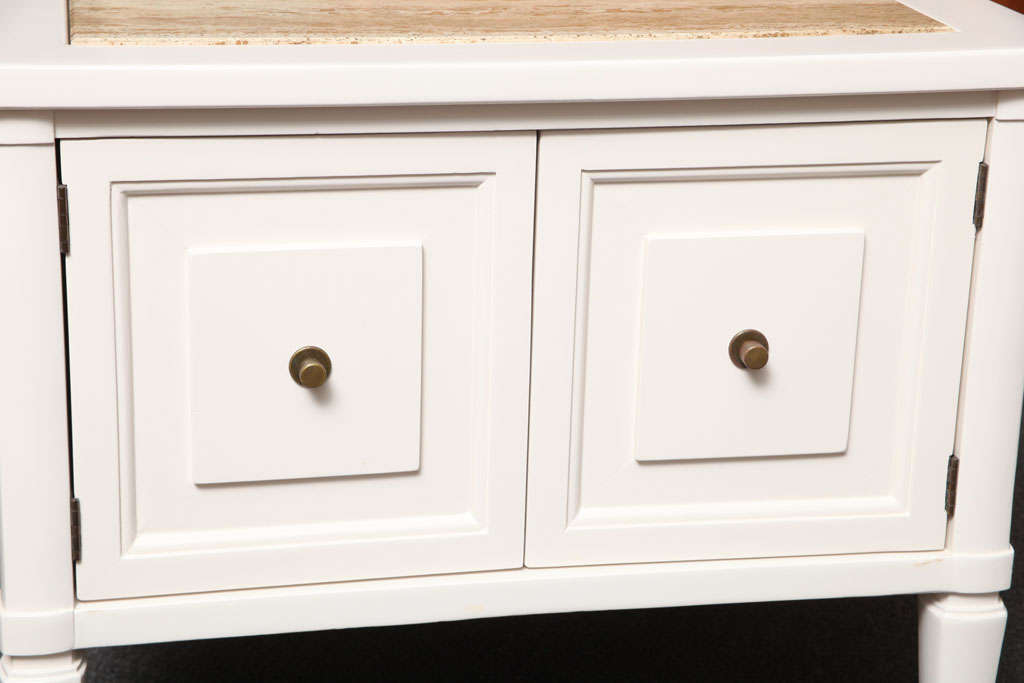 Wood 1960s Modern Neoclassical Nightstands with Travertine Tops For Sale