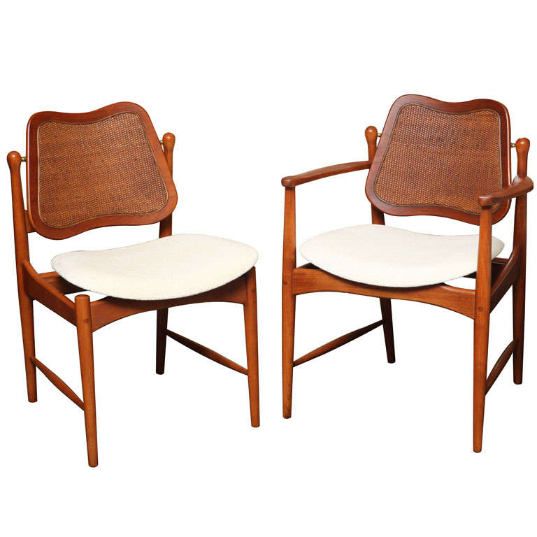 SIX Arne Vodder Teak And Cane Dining Chairs At 1stdibs