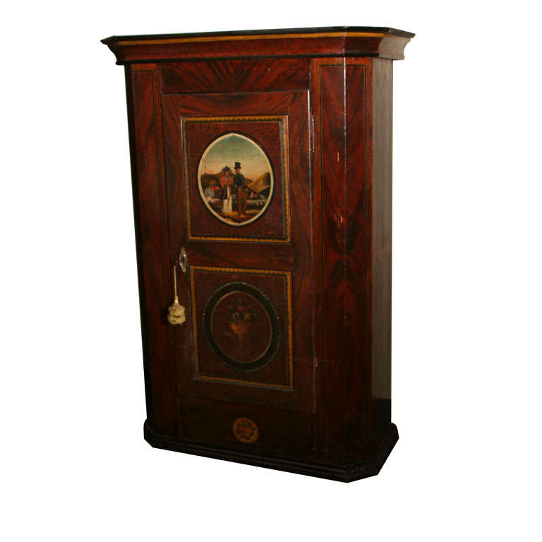 Swiss Painted Schrank Armoire Circa 1850 At 1stdibs