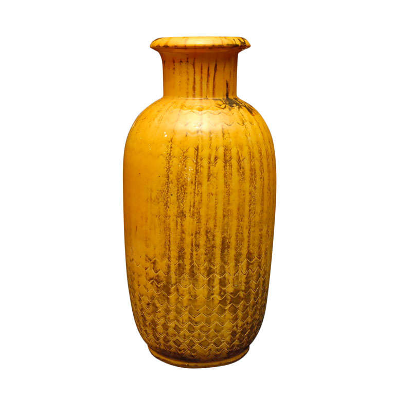 yellow kaehler pottery vase for sale at 1stdibs. Black Bedroom Furniture Sets. Home Design Ideas